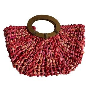 Coldwater Creek Pink Braided Straw Bag